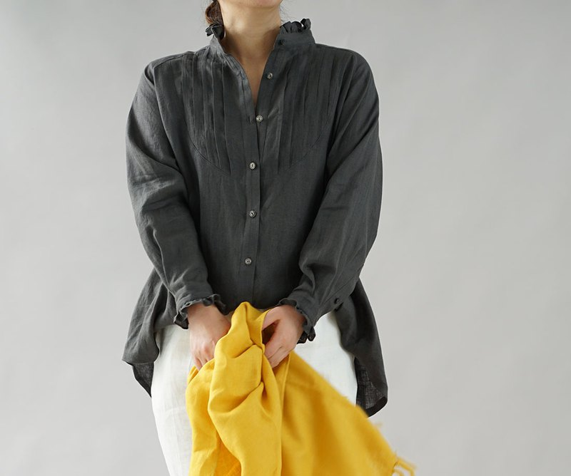 wafu  Linen blouse / tops / long sleeve / frill / charcoal gray t033b-cgy1