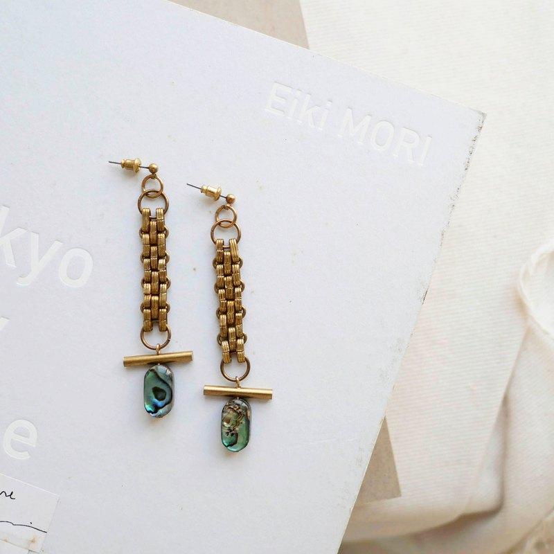 【織】 鮑魚貝黃銅耳環