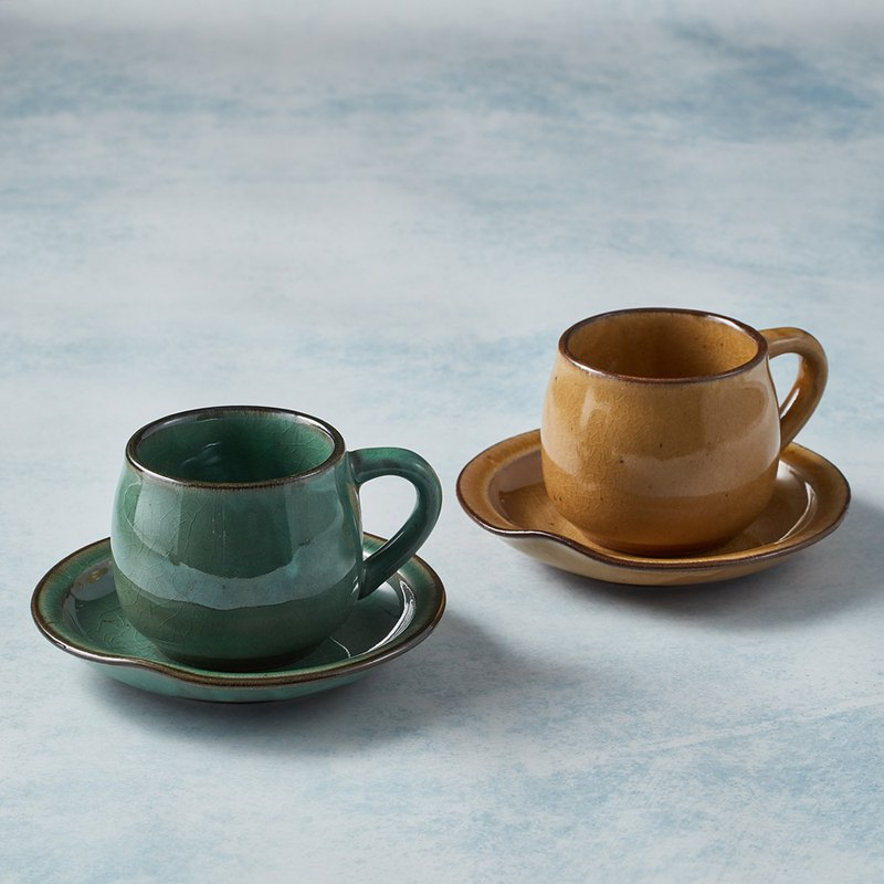 There is a kind of creativity - Japan Mino-baked - round mouth coffee cup and saucer - pair of cups (4 pieces)