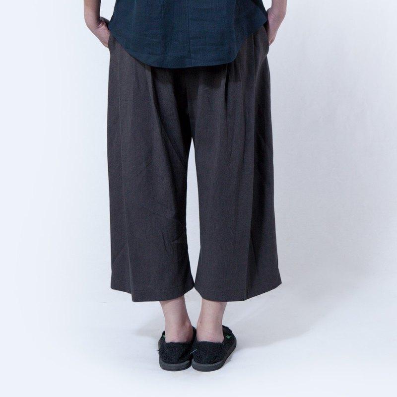 劍道褲 - 棉麻 鬆緊帶 女裝褲子 / 鐵灰色