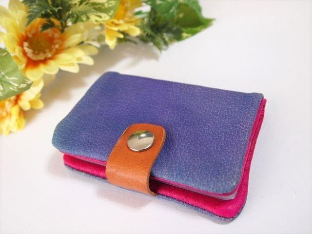 [Pig leather soft card case] by color leather 1532002
