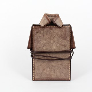 MOOS X WASOME ORIGAMI 鞣 鞣 鞣 leather hand-sewn certificate set (coffee)