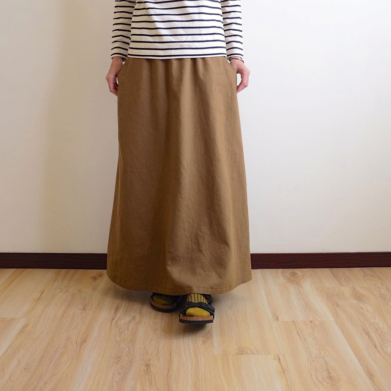 Daily hand-made clothes winter warm sun olive khaki twill long skirt hemp cotton