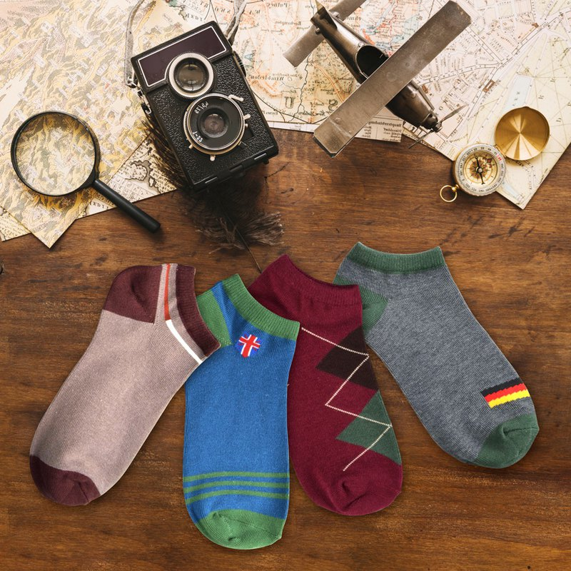 Retro travel men's boat socks 4 into the boat socks cotton socks
