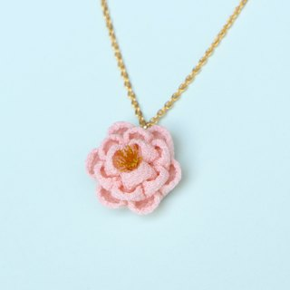 Silk sweet camellia necklace pink knob work