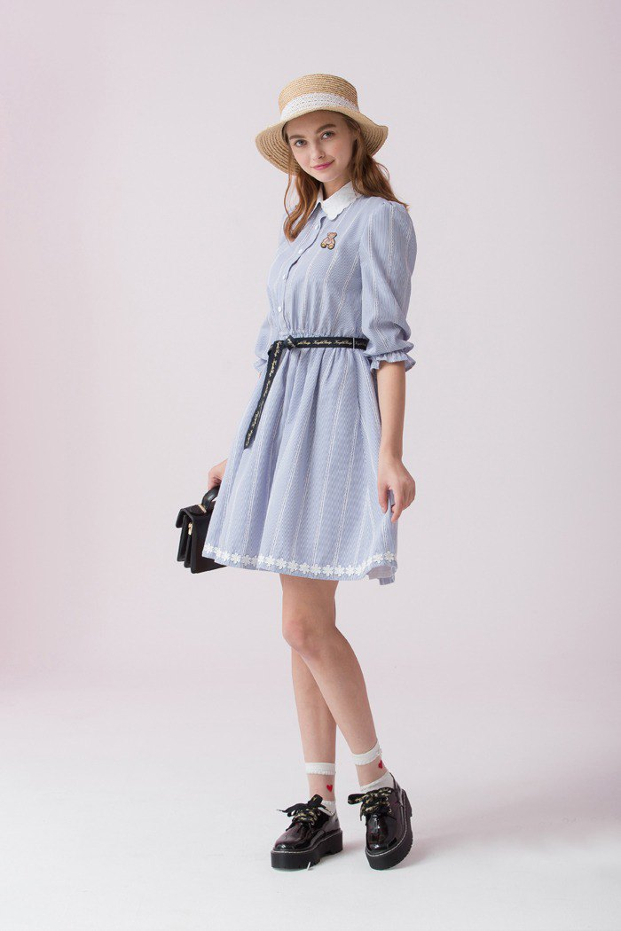 Embroidered collar dress 826F349