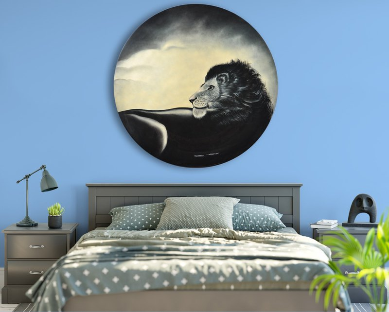 Male lion pride (actual proportion) l custom round art deco painting l hanging painting