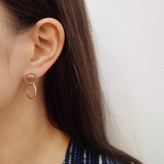 Irregular double circle - gold drop earrings ear (pair) [changeable ear clip]