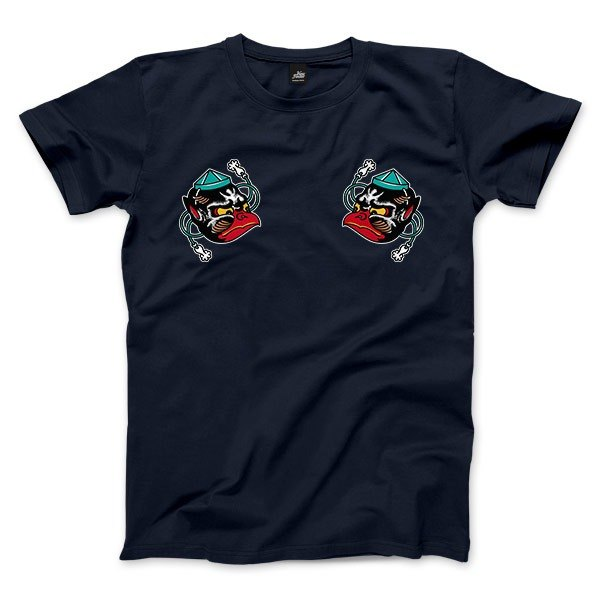 Small Tengu mask - dark blue - neutral T-shirt