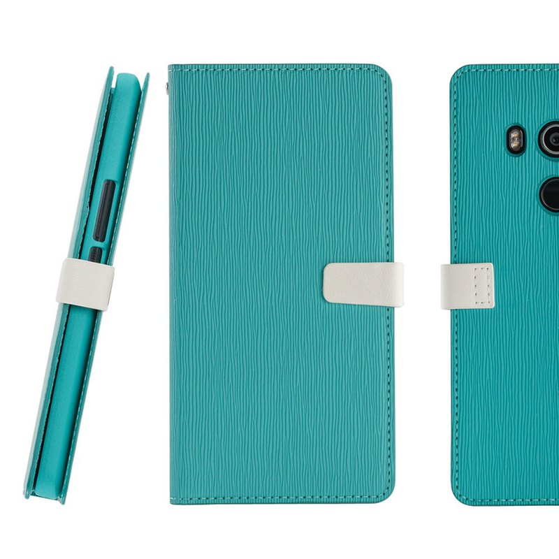 CASE SHOP HTC U11 Eyes Wood grain side upright leather case - blue (4716779659276)