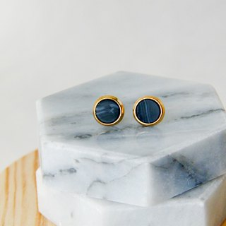Inlaid gold-trimmed stone small round - stone black ear earrings (pair) [can be changed ear clip]