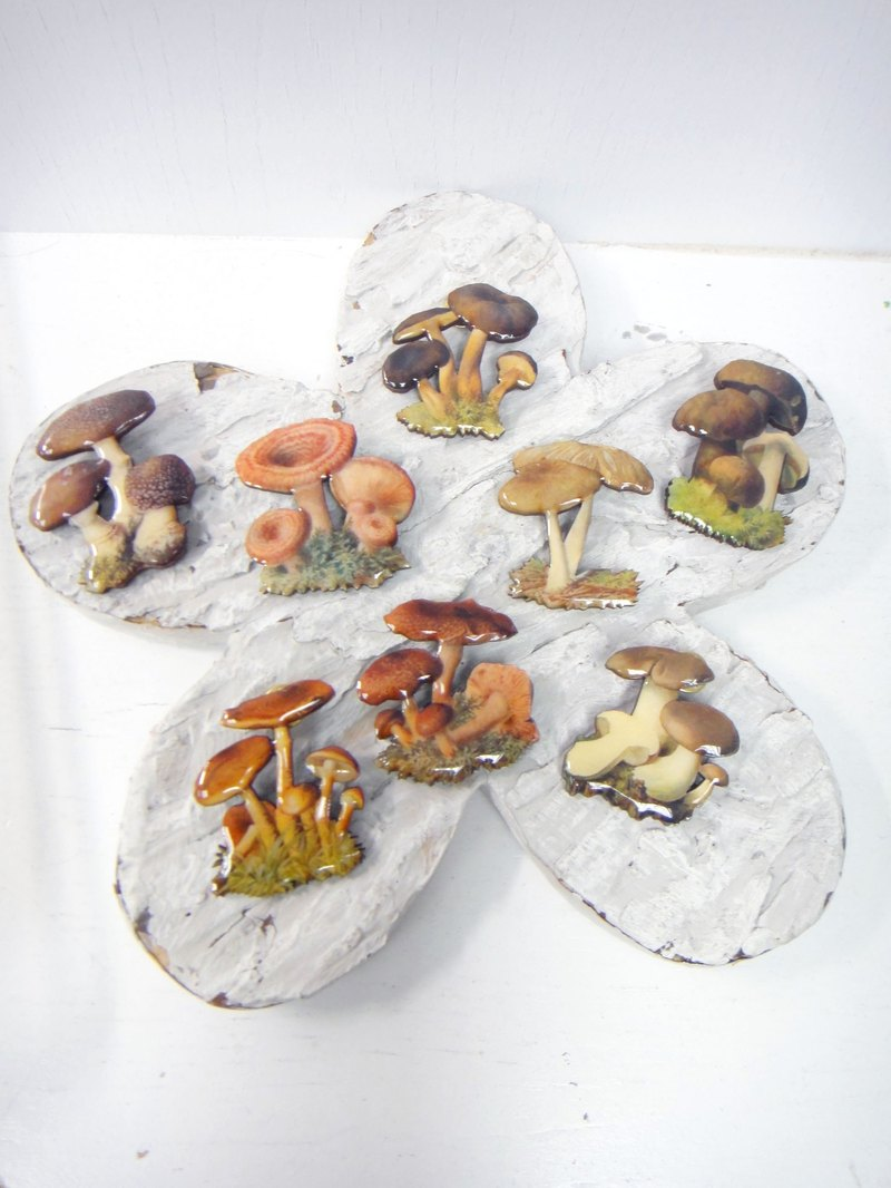 TBL retro mushrooms Epoxy surface chips brooch single sale