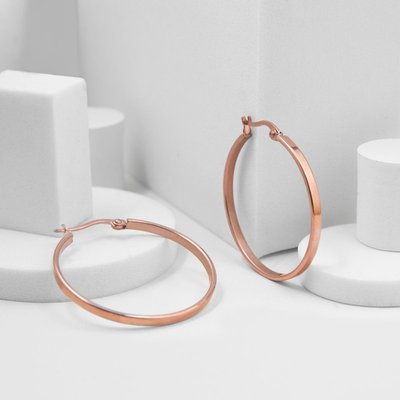 Recovery Flat C-Shaped Earrings (Steel Rose Gold)