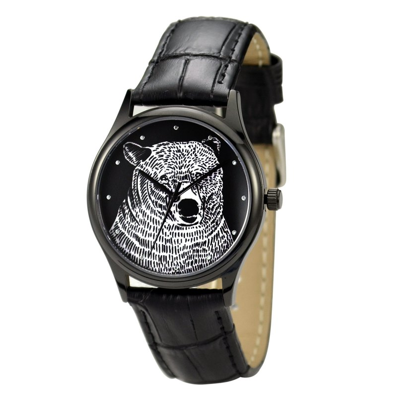 Animal (Bear head) illustration Watch Black Unisex Free Shipping Worldwide