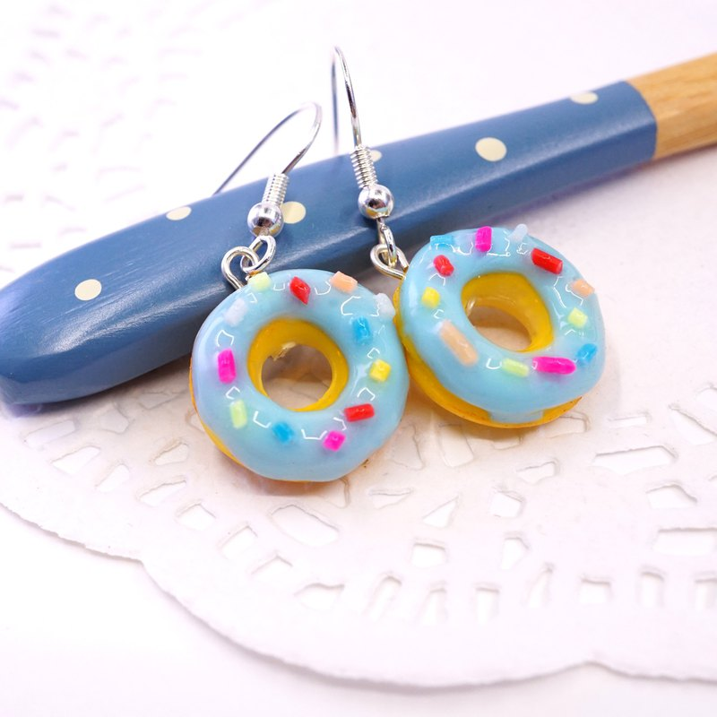 *Playful Design*  Ocean Blue Favour Donuts Drop Earrings