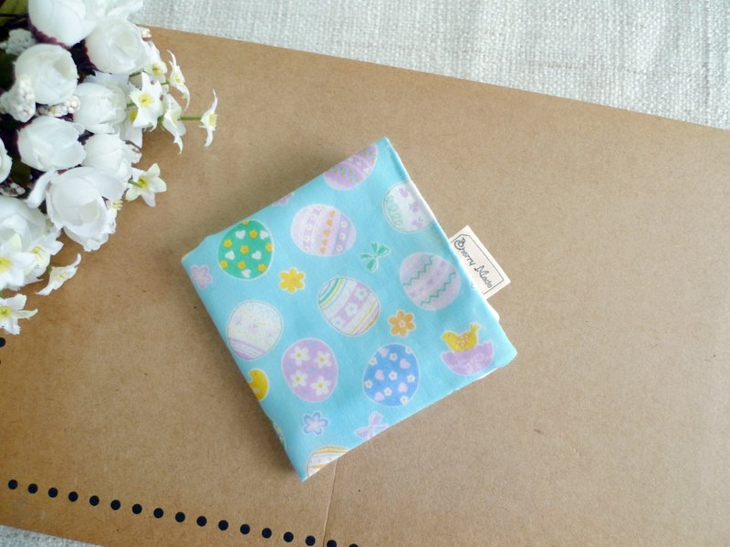 Cotton gauze handkerchief / saliva towel / small square towel - happy egg (blue)