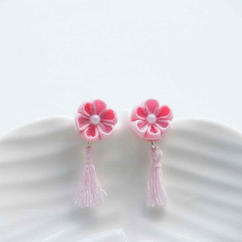 Lovely Pink Fabric Flower and Tassel Earrings Clip-on 14KGF, S925 custom
