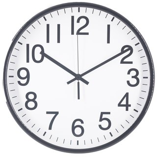 "Black Wall Clock, Silent Non Ticking Quality Battery Operated 12""inch"