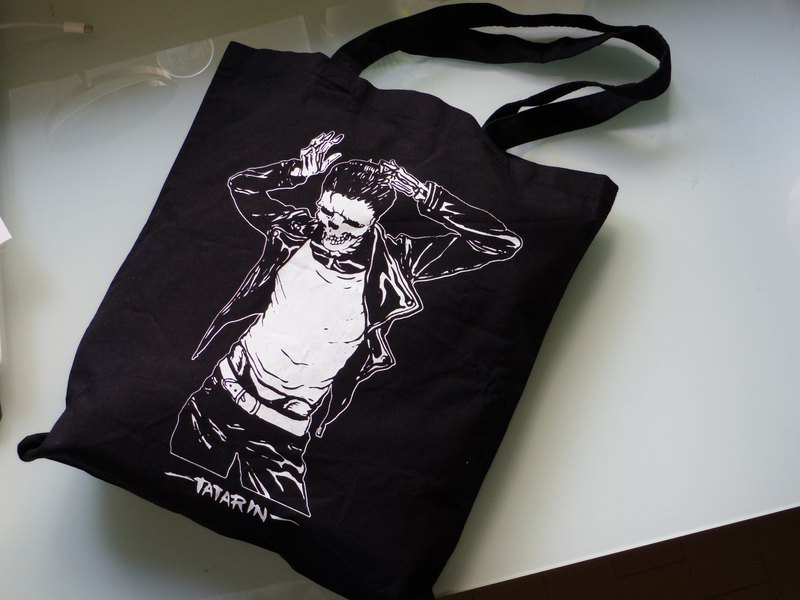 MADE IN JAPAN Cotton Tote Bag, Greaser Skeleton Silkscreen, Grocery Shopping Bag
