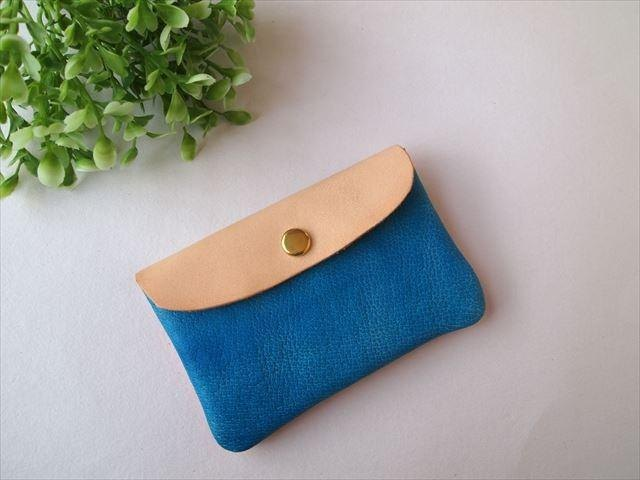 Pig leather soft card case [hand-dyed leather pass case] 168004