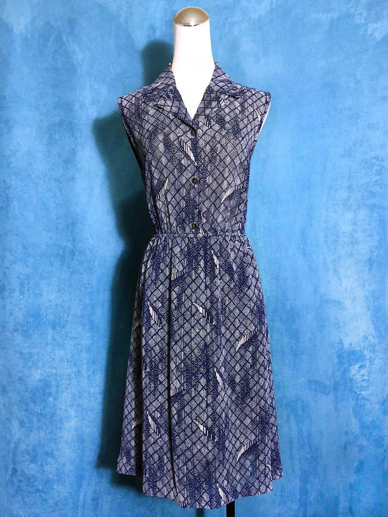 Blue totem chiffon sleeveless vintage dress / bring back VINTAGE