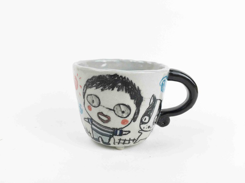 Nice Little Clay small handmade cup _ boys and cats 0106-01