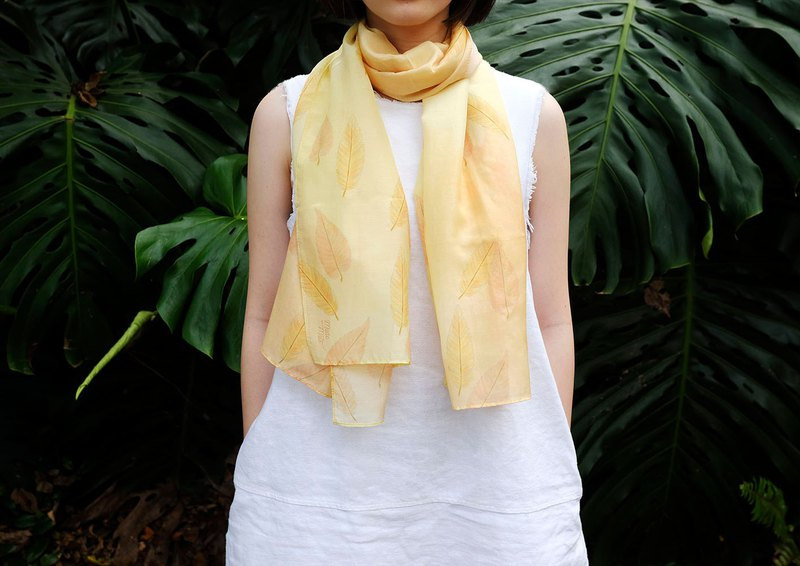 Aki Lemon Yellow Cottonsilk Scarf, Autumn Leaves, Shawl, Nature