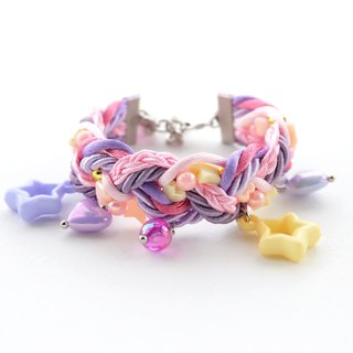 Pastel pink purple yellow braided bracelet with pastel charms