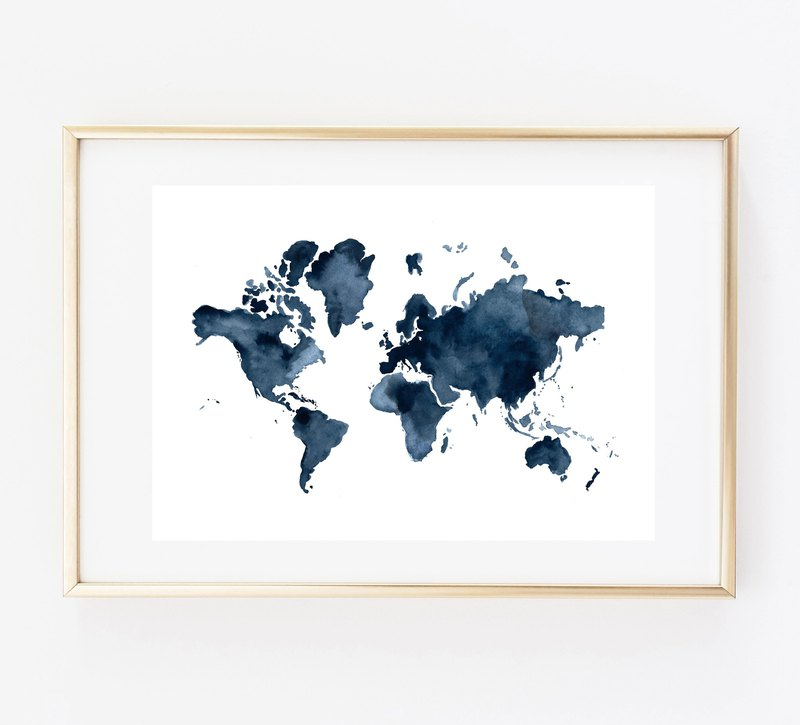 World map print blue Customizable posters
