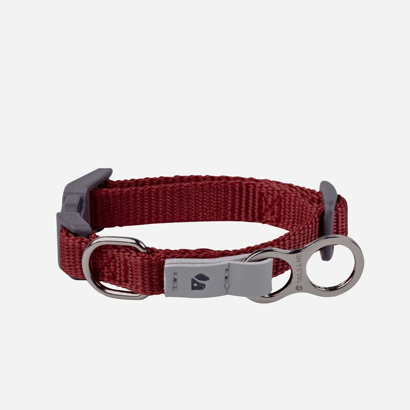 [Tail and me] Classic nylon belt collar wine red XS