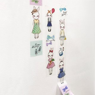 Snow Bunny Washi Tape-Watercolor Papertape,Illustration,Masking Tape,Paper tape,Watercolor tape,Stationery store