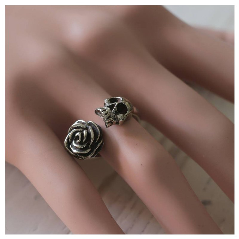 Skull Rose skull silver ring Unique Jewelry Women Lady adjustable Statement 925