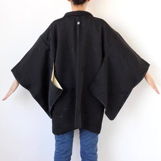 black leaves haori, kimono jacket, black kimono top, traditional Japanese /2888