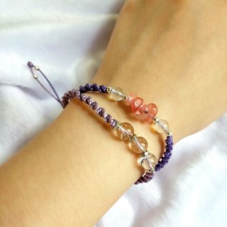 B003-Handwoven Bracelet White Crystal Watermelon Red Purple Elegant Double Circle Bracelet