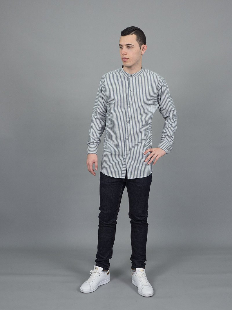 Mandarin stripe (Grey, Long Sleeve) (2 Pcs.)