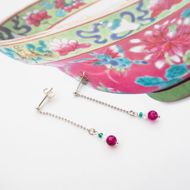 Beaded Series | Ticking Tourmaline | Handmade 925 Silver Chain Earrings