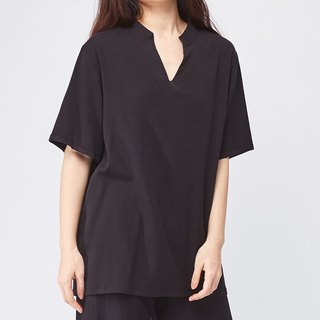 Black stand collar shirt