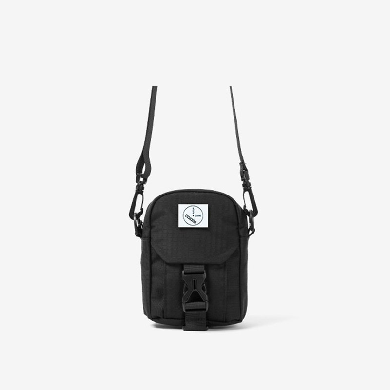 Fine plaid stitching small diagonal bag::black::