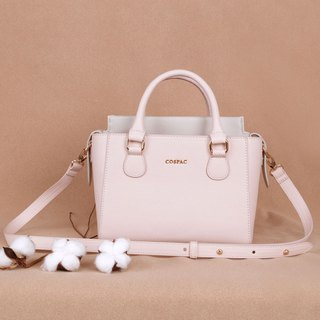 Lovely Pink and Grey Color Synthetic Leather Petite Twin Shoulder Handbag
