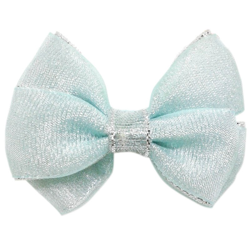 Cutie Bella Silver Onion Bow Hair Clips All Inclusive Handmade Hair Accessories Sparkle-Mint