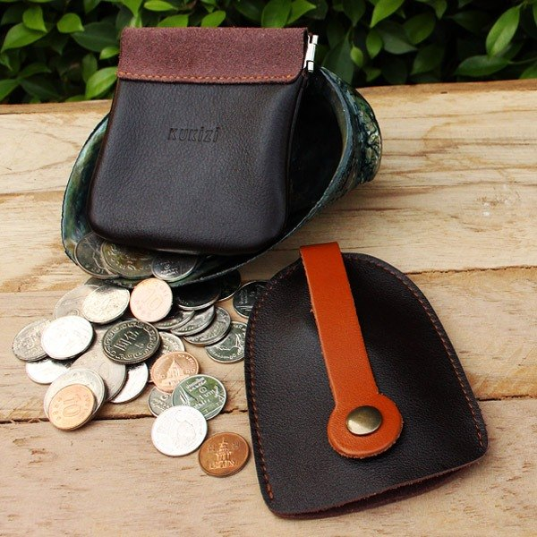 Set of Coin Bag & Key Case - Brown + Tan Strap / Cow Leather / Coin Purse