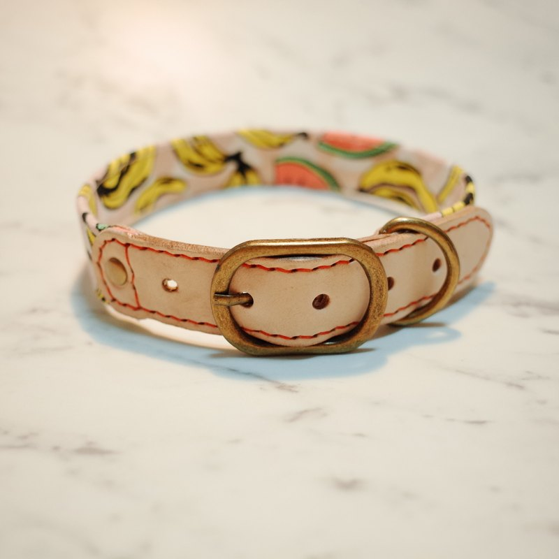 Dog L collar (excluding tag) Midsummer fruit party watermelon banana canvas can be attached to the rope bells plantation leather