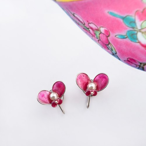 Butterfly in Love with Flowers NO.9 | Handmade stainless steel earring