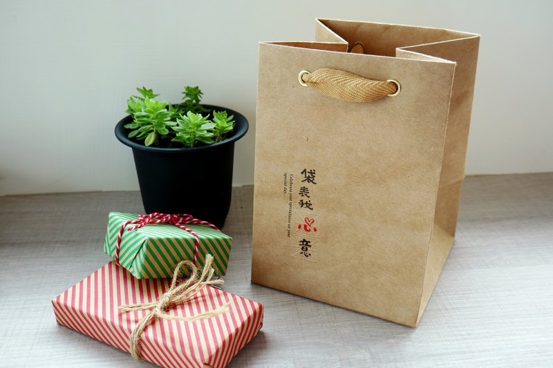 Wenqing - wide bottom kraft paper bag (small)