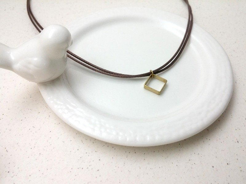 Wax line necklace brass hollow box plain simple wax rope thin line