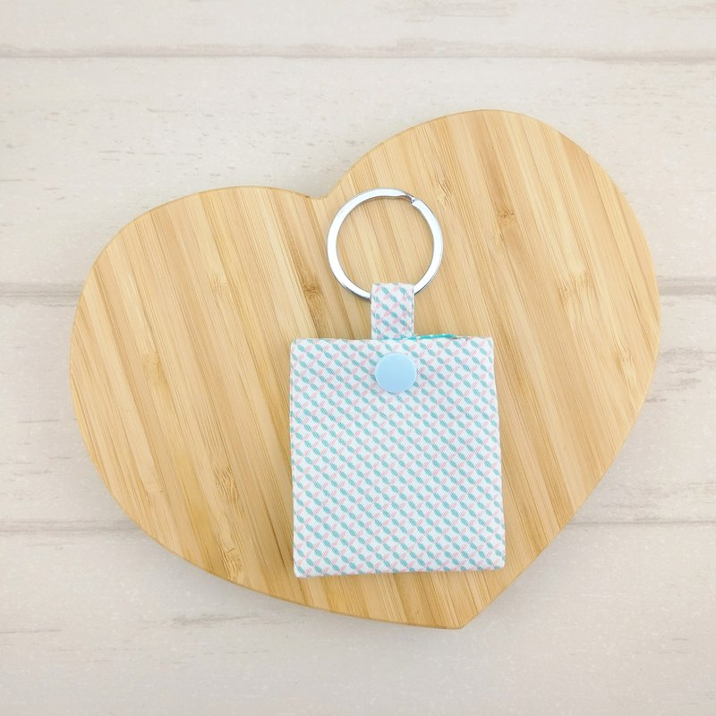 Pastel grid - pink blue buckle. GOGORO induction key protection bag storage bag dust bag key ring