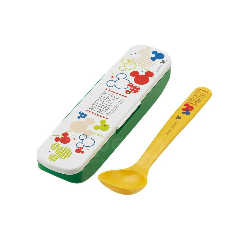 SKATER - Japanese-made non-staple food deep-mouth spoon with storage box (Mickey COLORFUL)