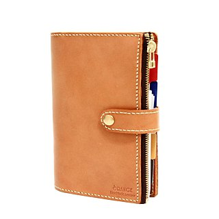Small orange peel vegetable tanned leather A5 20 hole A5 6 hole loose-leaf zipper mezzanine notebook account