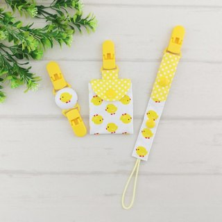 Chicken Po -2 color optional. (3 pieces) - safe bag + pacifier chain + handkerchief folder (safe bag can add 40 embroidery name) (chicken baby)