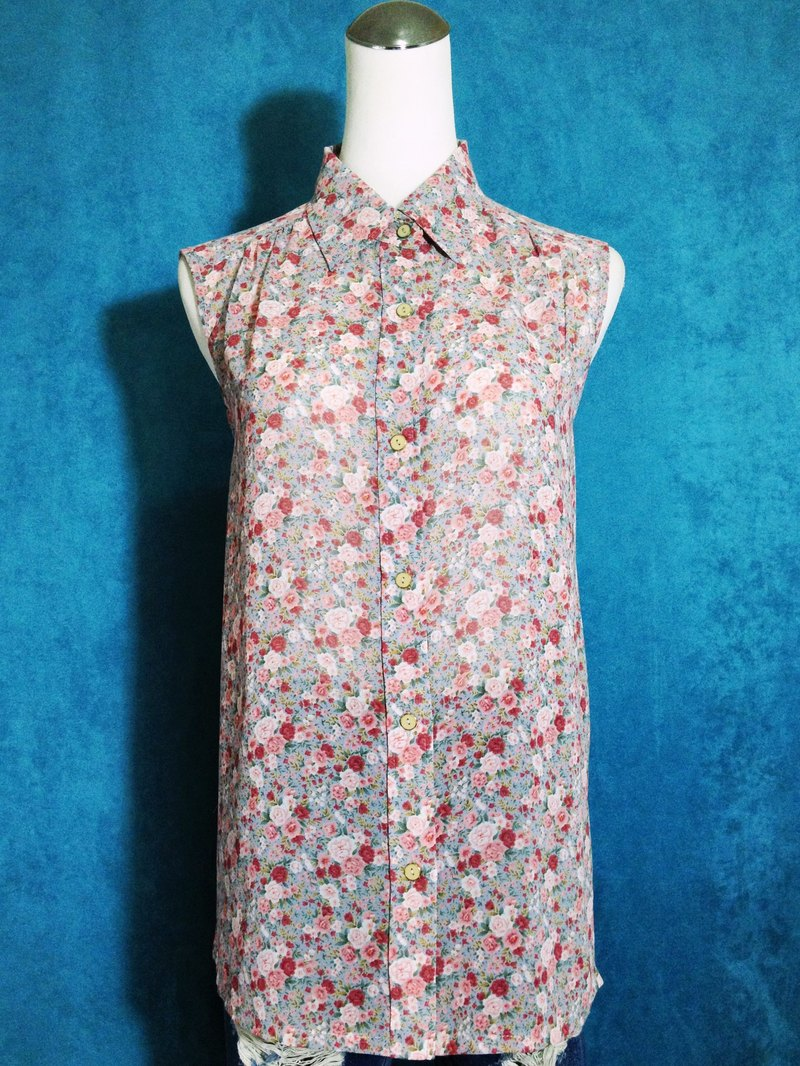 Ping-pong vintage [vintage shirt / sleeveless chiffon flowers romantic vintage shirt] abroad back VINTAGE